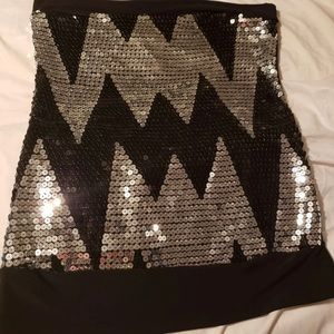 Tops - Black and Silver Sequin top